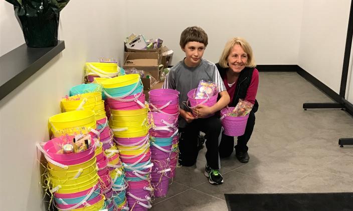 James delivering the baskets to Sunshine Missions